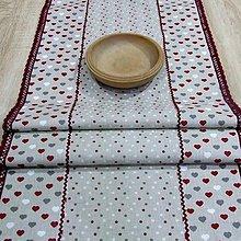 Úžitkový textil - Režné variácie bordo - stredový obrus  (140 cm x 42 cm) - 9027669_