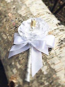 Pierka - Luxusné pierko pre ženícha so zirkónovou korunkou - 9028921_