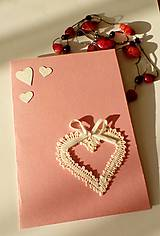 Papiernictvo - pohľadnica svadobná srdiečko biele - 9027894_