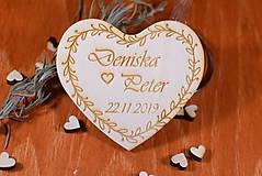 Darčeky pre svadobčanov - Svadobná magnetka drevená gravírovaná 128 - 9028439_