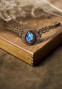 Iné šperky - Makramé čelenka/náhrdelník Labradorit •Kasiopeja• - 9030790_