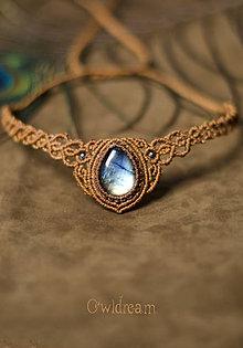 Iné šperky - Makramé čelenka/náhrdelník Labradorit •Luna• - 9031145_