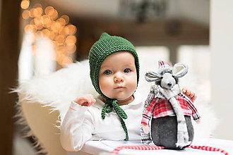 Detské čiapky - Čepček pixie MERINO - zelený - 9034334_