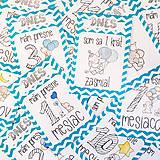 Detské doplnky - Miľníkové kartičky Turquoise Chevron 24ks - 9033651_
