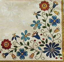 Papier - S1127 - Servítky - folk, folklórny, ľudový, výšivka, kvietky - 9032773_