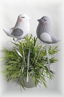 Dekorácie - Vtáčiky bielo-sivé - 9032688_