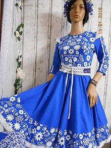Šaty - FLORAL FOLK - šaty Blue & Beige - 9035705_