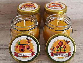 Svietidlá a sviečky - Sviečka zo 100% včelieho vosku v skle - Natural - 9034375_
