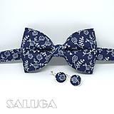 - Pánsky modrý motýlik + náušnice - modrotlač - 9034376_