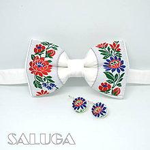 Doplnky - Folklórny biely pánsky motýlik + náušnice - 9034347_
