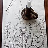 Úžitkový textil - Ľanová štóla ručne maľovaná - zimné trávy - 9034562_