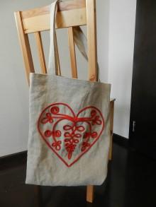 Nákupné tašky - Ľanová nákupná taška - Cifrované srdce II. - 9032225_