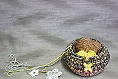 Háčkovaný dekorační / úložný košík 28×14,5 cm