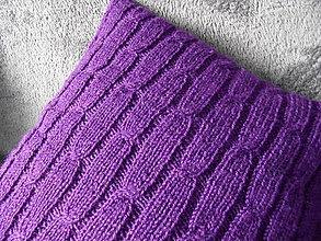 Úžitkový textil - pletený vankúšik cyklámenový - 9034564_