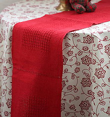 Úžitkový textil - Obrus. Ľanová štóla ručne tkaná - 9035511_