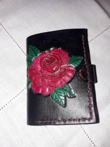 Peňaženky - Malá kožená peňaženka Ružička - 9033347_
