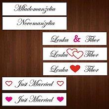 Tabuľky - Svadobná tabuľka na auto -  špz s menami, mladomanželia - 9033534_
