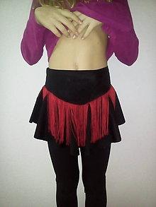 Sukne - Čierna sukňa so strapcami - 9034353_