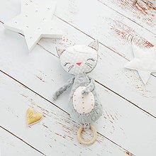 Hračky - Mačička na kočík šedo-ružová - 9033829_
