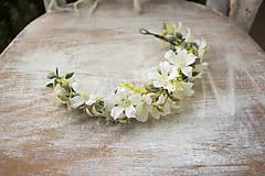 Ozdoby do vlasov - kvetinový polvenček ,,biely,, - 9036152_