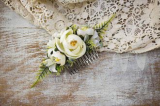 Ozdoby do vlasov - Kvetinový hrebienok ,,biely,, - 9035940_