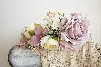 Ozdoby do vlasov - kvetinový polvenček ,,púdrovo ružový,, - 9036139_