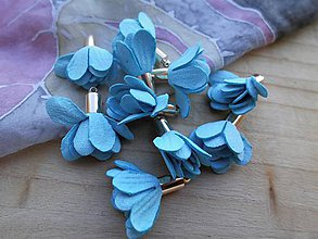 Polotovary - Textilné kvety - pár (viac druhov) (Modré) - 9035608_