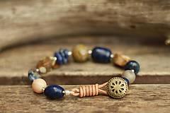- Boho náramok z minerálov lapis lazuli, achát, jaspis - 9032200_