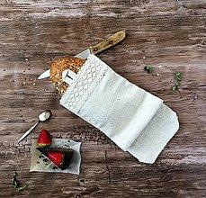 Úžitkový textil - Ľanové vrecúško na chlieb - 9033772_