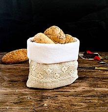 Úžitkový textil - Podšité ľanové vrecko na chlieb - 9034075_