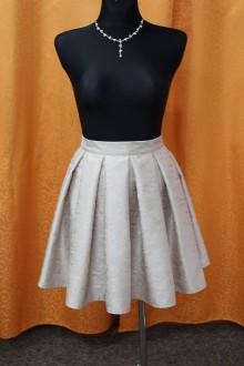 Sukne - Béžová vzorovaná sukňa - 9038115_