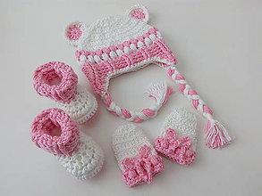 Detské súpravy - Ružovo-biela súprava pre novorodenca - 9037942_
