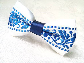 Ozdoby do vlasov - Slovak folklore headband (royal blue/white) - 9037518_