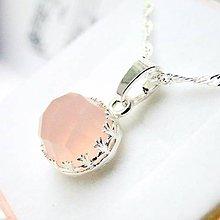 Náhrdelníky - Mystic Faceted Rose Chalcedony Necklace / Strieborný náhrdelník s brúseným rose chalcedónom /0407 - 9039366_