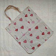 Nákupné tašky - Nákupná taška srdiečka (srdiečka vianočné) - 9038712_
