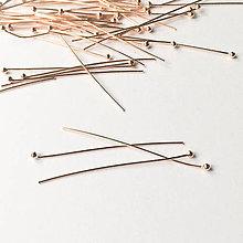 Komponenty - 18 k ružovým zlatom zlátený stredný strieborný nit Ag 925; 35 mm - 9038331_