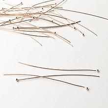 Komponenty - 18 k ružovým zlatom zlátený dlhý strieborný nit Ag 925; 50 mm - 9038380_