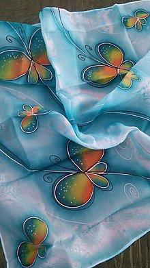 Šatky - tyrkysová s motýlikmi - 9039438_