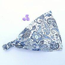 Ozdoby do vlasov - Modré paisley na bílé - 9040708_