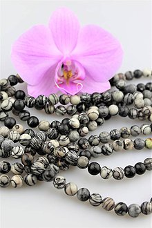 Minerály - jaspis čierno-biely korálky 8mm - 9037757_