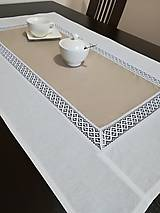Úžitkový textil - Obrus s krajkou v prírodných odtieňoch - 9037243_