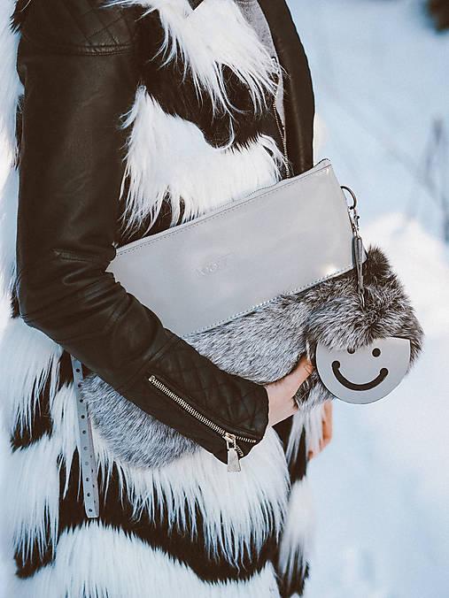 Koženo- kožušinová listová kabelka-SIVÁ