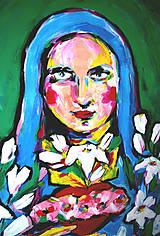 Obrazy - Pekný veľký obraz na plátne, originál - Nepoškvrnené Srdce Panny Márie - 9037024_