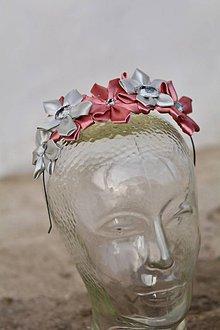 Ozdoby do vlasov - Čelenka ružovo -šedý  kvietoček - 9037638_