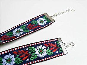 Náhrdelníky - Folklórny biely červený modrý čierny kvetinový choker - náhrdelník obojok (24 mm vzor 2) - 9040799_