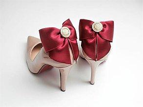 Obuv - Klipy na topánky - bordové mašle so zlatým gombíkom (plný zlatý gombík) - 9040821_