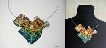 Náhrdelníky - Náhrdelník Bismuth... modro-žltý veľký - 9039559_