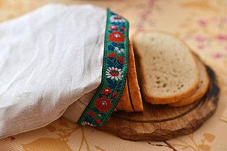 Úžitkový textil - Ľanové plátienko na chlebík so zelenou krajkou - 9037249_