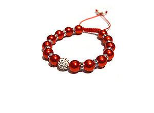 Náramky - Červený perlový náramok - 9040644_