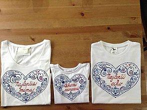 Tričká - Rodinný maľovaný set tričiek s nápismi na želanie - 9041364_
